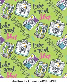 Hand drawn doodle pattern with camera