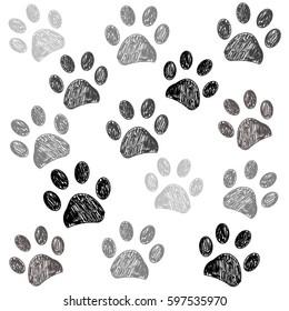 Hand drawn doodle paw print black white background