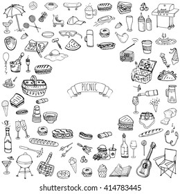 Hand drawn doodle Picnic icons set. Vector illustration barbecue sketchy symbols collection Cartoon bbq concept elements Summer Umbrella Guitar Food basket Drinks Wine Sandwich Sport activities Fruits