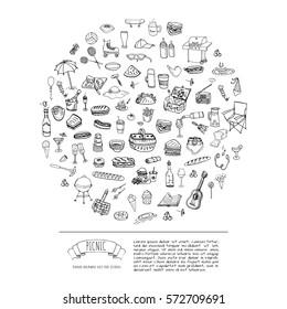 Hand drawn doodle Picnic icons set Vector illustration barbecue sketchy symbols collection Cartoon bbq concept elements Summer picnic Umbrella Guitar Food basket Drinks Wine Sandwich Sport activities
