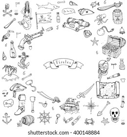 Hand drawn doodle Pirate icons set Vector illustration piracy symbols collection Cartoon concept elements Hat Treasure chest Black flag Skull Crossbones Compass Costume Anchor Spyglass Mermaid Octopus