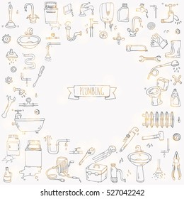Hand drawn doodle Plumbing icons set. Vector illustration. Plumber repair tools collection. Cartoon water pipe various sketch elements: sink, tube, drain, broken washing machine, splash, drops, leak
