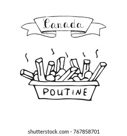 Hand drawn doodle Poutine icon traditional quebec meal with french fries gravy and cheese curds, Vector illustration isolated on whire Canadian breakfast symbol