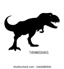 Hand drawn doodle prehistoric silhouette  dinosaur tyrannosaurus  with text isolated on white background. Vector illustration  for coloring book for children, design project, education
