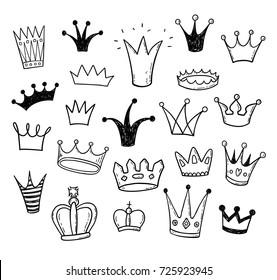 Hand drawn doodle princess crowns set