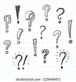 Hand drawn doodle question marks set