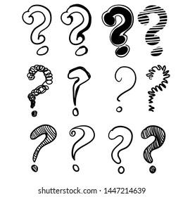 hand drawn doodle question marks set illustration