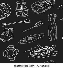 Hand drawn doodle rafting seamless pattern Vector illustration. Symbol collection.