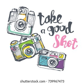 Hand drawn doodle retro camera. Take a good shot!