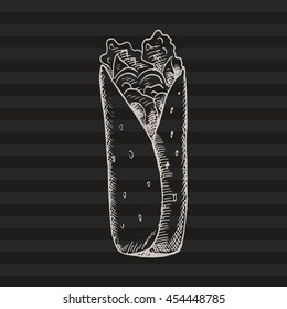 Hand drawn doodle roll. Good for cafe, menu, recipes. Drawn by ink. White lines on the black background