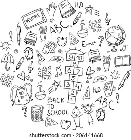 hand drawn doodle school icons arranged in round shape