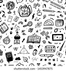 Hand Drawn Doodle School Supplies Icons Vector Seamless Pattern. Education Design Elements Black and White Background for Kids. Back to School