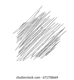 Hand drawn or doodle scribble line shapes with start and end. Vector illutration. Isolated scrawl sketches on white background
