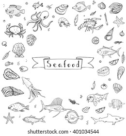 Hand drawn doodle Seafood icons set Vector illustration food symbols collection Cartoon fish Crab Lobster Oyster Shrimp Prawn Shellfish Shrimp on white background for your menu or restaurant design
