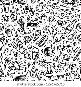 Hand drawn doodle seamless pattern, marker outlines, for bar, banner, menu, beer or music festival, young people event, outdoor activities, picnic. Black and white vector. Food and beverage