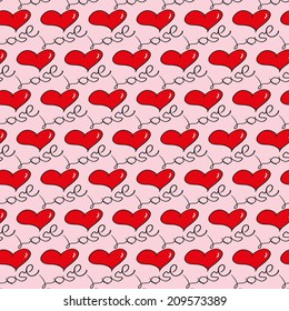 Hand drawn doodle seamless pattern of hearts.  Vector EPS10