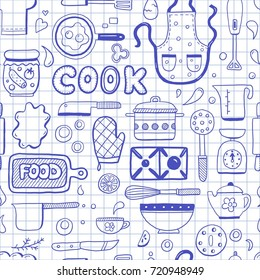 Hand drawn doodle seamless pattern with cooking ingredient, food, bakery and kitchen utensils elements. Vector illustration for restaurant menu, recipe wallpaper and background. Cartoon sketch style.