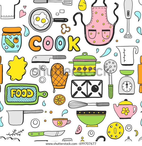 Hand Drawn Doodle Seamless Pattern Cooking Stock Vector Royalty Free 699707677