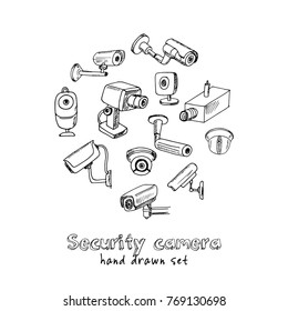 Hand drawn doodle security cameras set. Vector illustration. Isolated elements on white background. Symbol collection.