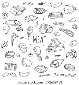 Hand drawn doodle set of cartoon different kind of meat and poultry set. Vector illustration Sketchy food elements collection Lamb Pork Ham Mince Chicken Turkey Steak Bacon Sausage Salami Delicatessen
