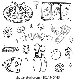 Hand drawn doodle set of Casino icons. Vector illustration. Cartoon Gambling symbols. Sketchy game elements collection: bet, jackpot, cards, chips, coins, darts, roulette, poker, money, slot.