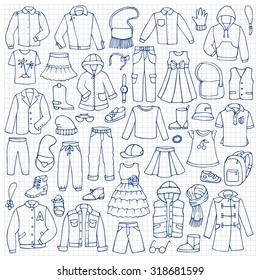 Hand drawn doodle set with childish clothes on squared paper. Vector illustration for backgrounds, textile prints, web and graphic design