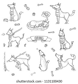 Hand drawn doodle set of cute dogs icons Vector illustration set. Cartoon normal everyday home pets activities symbols. Sketchy puppy collection: howl, play with ball, sleep, walk, eat, ask for food