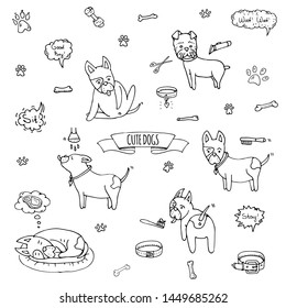Hand drawn doodle set of cute dogs icons Vector illustration set. Cartoon normal everyday home pets activities symbols. Sketchy puppy collection: take a shower, grooming, sleep, walk, washing teeth