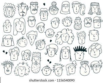Hand drawn doodle set, faces of people, vector illustration.