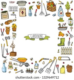 Hand drawn doodle set of Gardening icons. Vector illustration set. Cartoon Garden symbols. Sketchy elements collection: lawnmower, trimmer, spade, fork, rake, hoe, trug, wheelbarrow, hose reel.