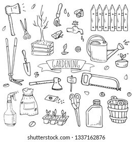 Hand drawn doodle set of Gardening icons. Vector illustration set. Cartoon Garden symbols. Sketchy elements collection: trimmer, spade, fork, axe, plant, fertilizer, saw, scissors, watering equipment