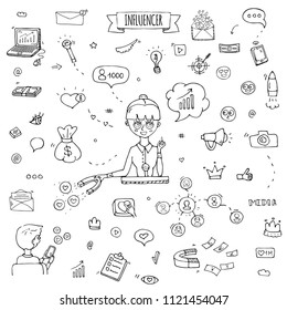 Hand drawn doodle set of Influencer icons. Vector illustration set. Cartoon marketing symbols. Sketchy elements collection: laptop, network, mail, followers, people, money, magnet, blogger, leader