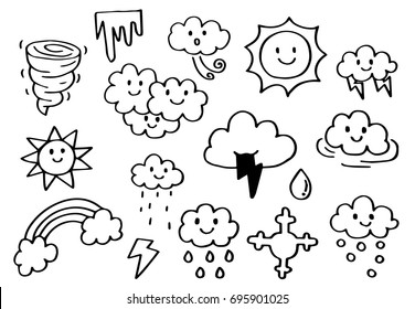 Hand drawn doodle set of Weather.
