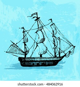 Hand drawn doodle ship. Travel, sea, pirate. Black illustration, blue watercolor background.
