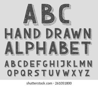 Hand drawn doodle sketch abc alphabet letters, vector illustration