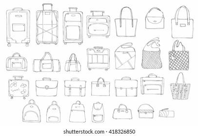 f0da3040 Hand drawn doodle sketch illustration set of bags - baggage for travel,  suitcase, case
