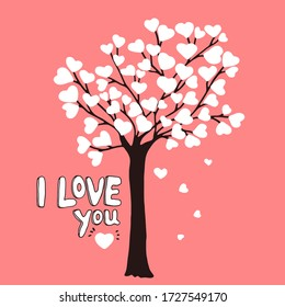 Hand drawn doodle sketch of tree on which grow hearts. Lettering I Love You. Colorful vector illustration for design card, invitation to celebrate Birthday, Womens day, Mother's Day, Valentines Day