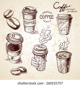 hand drawn doodle sketch vintage paper cup of coffee takeaway Menu for restaurant, cafe, bar, coffeehouse.