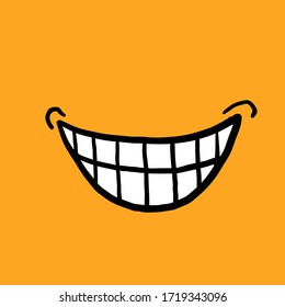 hand drawn doodle smile or laughing by showing teeth for discovering a plan illustration with cartoon style