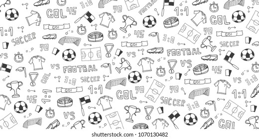 Hand drawn doodle soccer or football background. Isolated elements. Vector illustration