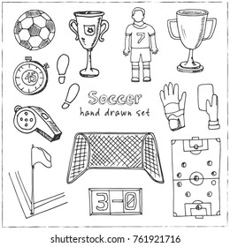 Hand drawn doodle soccer set. Vector illustration. Isolated elements on white background. Symbol collection.