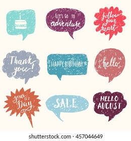 Hand drawn doodle speech bubbles set, modern brush calligraphy on hipster banner for invitations, greeting cards, chat, mobile devices and web. Sale, Hello, Happy Birthday, Thank you lettering.