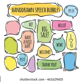 "Hand drawn doodle speech bubbles set with accentuation, filled with paint strokes and example texts:  ""Big sale!, Yes!,Thank you, Hello, Wow, Welcome, Have a nice day"". Vector illustration."