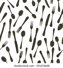 hand drawn doodle  spoon, knife and fork seamless pattern