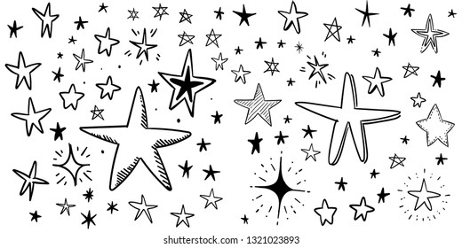 Hand drawn doodle stars, vector collection