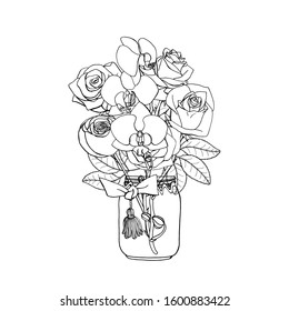 Hand drawn doodle style bouquet of black and white roses and orchids. Isolated on white background. Monochrome Stock vector illustration.