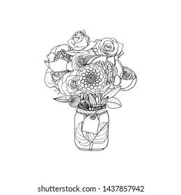 Flower Clip Art Black and White