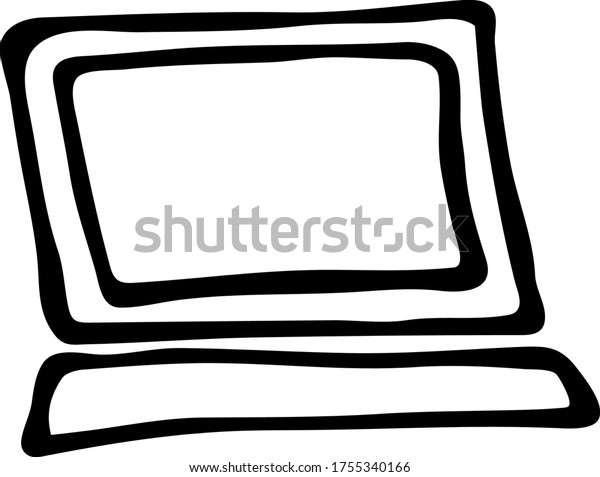 Hand Drawn Doodle Style Computer Vector Stock Vector Royalty Free 1755340166