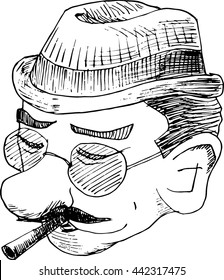 Hand Drawn Doodle Style Detective Funny Face. Englishman. Doodle styled male face.