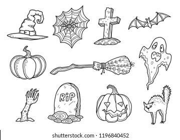 Hand drawn doodle style halloween symbols isolated on white background. Vector coloring book elements set. Witch hat and broom, zombie hand, tomb stone, spider net, bat, scary ghost and scared cat.